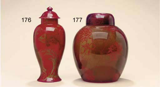 A BERNARD MOORE FLAMBE POTTERY VASE AND COVER