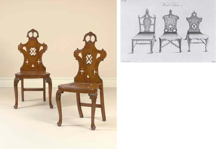 A PAIR OF GEORGE II YEW WOOD HALL CHAIRS