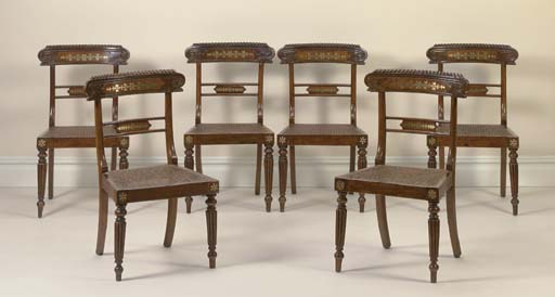A SET OF SIX REGENCY BRASS-INLAID FAUX ROSEWOOD SIDE CHAIRS