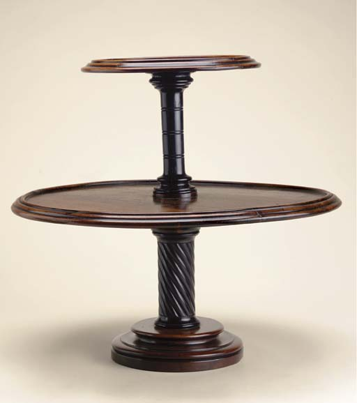 A REGENCY ROSEWOOD AND EBONY TABLE ETAGERE