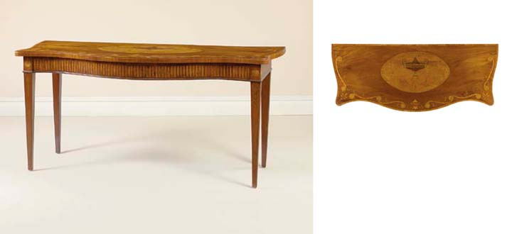 A GEORGE III STYLE MAHOGANY, SATINWOOD AND MARQUETRY SERVING-TABLE