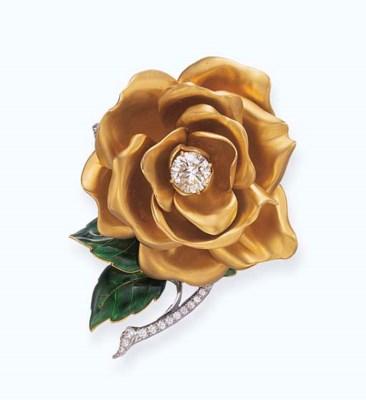 A DIAMOND, ENAMEL AND GOLD ROS