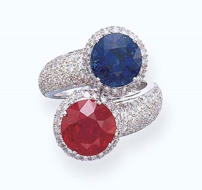A TWO-STONE RUBY AND SAPPHIRE