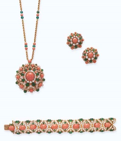 **A SUITE OF CORAL, EMERALD, C