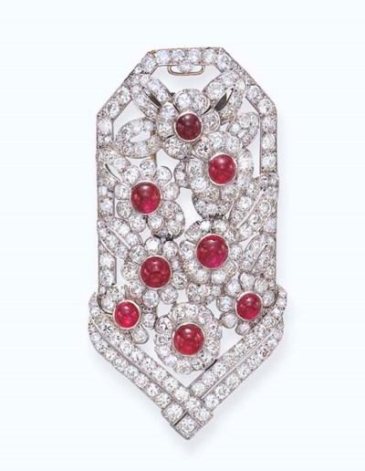 AN ART DECO DIAMOND AND RUBY C