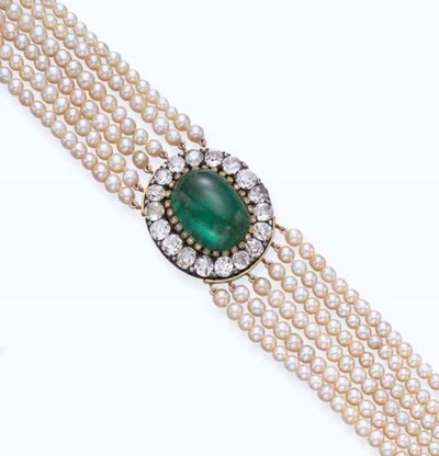 AN ANTIQUE EMERALD, DIAMOND AN