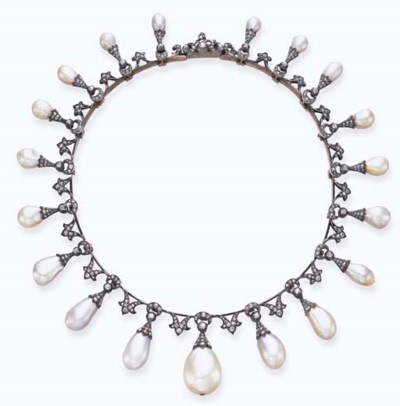 AN ANTIQUE PEARL AND DIAMOND N