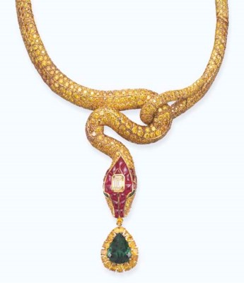 A SENSATIONAL EMERALD, RUBY AN