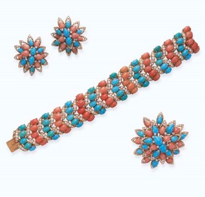 **A SET OF CORAL, TURQUOISE AN