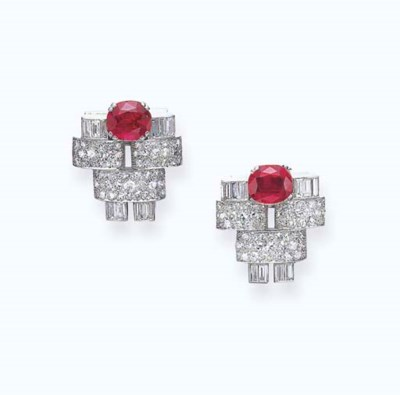 A PAIR OF ART DECO RUBY, SYNTH