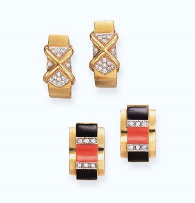 **TWO PAIRS OF GEM-SET EAR CLI