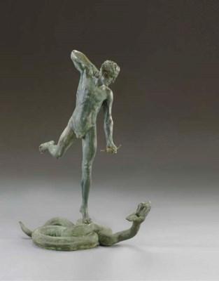 An American bronze figural fou