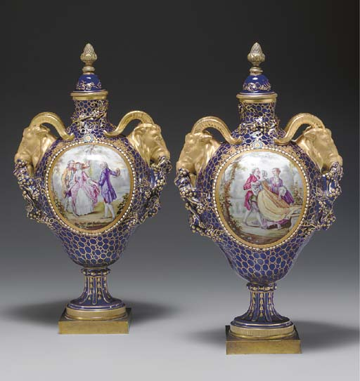 A PAIR OF SEVRES STYLE 'JEWELL