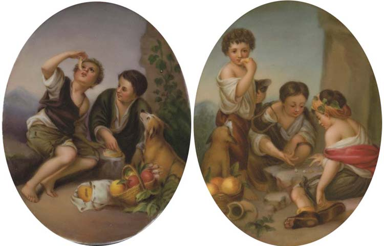 A PAIR OF GERMAN OVAL PLAQUES,