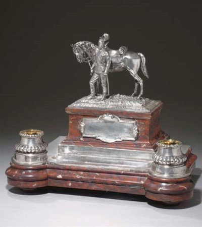 A SILVER-MOUNTED HARDSTONE INK