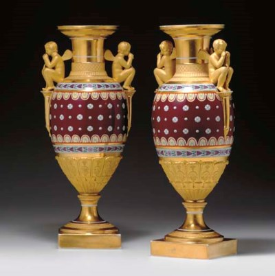 A PAIR OF PORCELAIN VASES