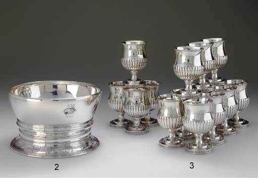 A SET OF FOURTEEN SILVER GOBLE