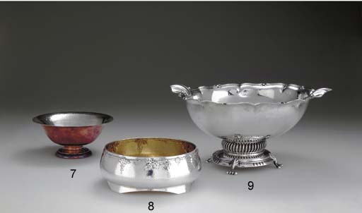 A SILVER AND COPPER BOWL