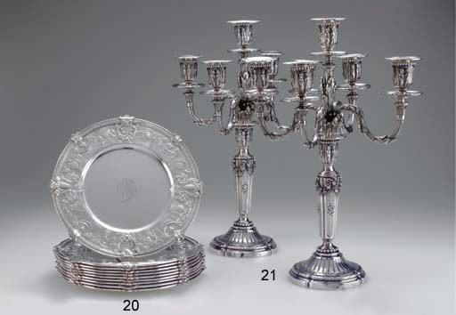 A FINE PAIR OF SILVER FIVE-LIG