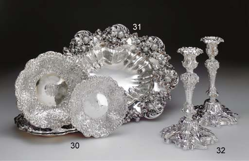A GROUP OF FOUR SILVER SERVING