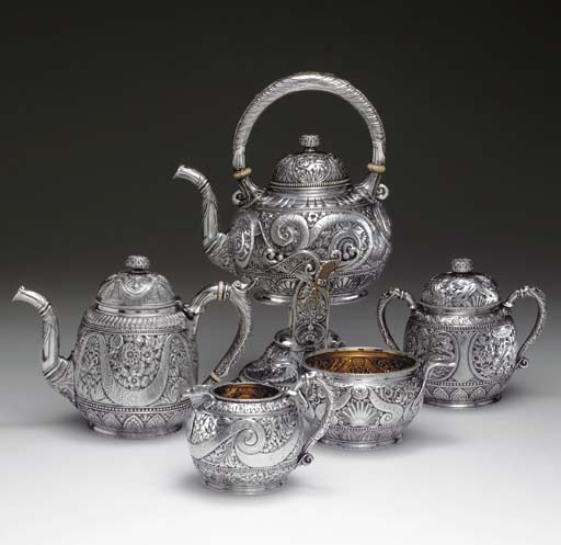 A SILVER FIVE-PIECE TEA SERVIC