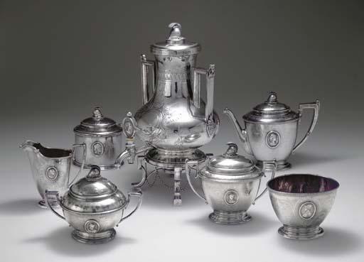 A SILVER SEVEN-PIECE TEA SERVI