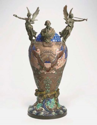 A POLYCHROME GLAZED BRONZE-MOU
