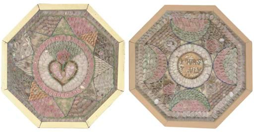A PAIR OF OCTAGONAL SHELLWORK
