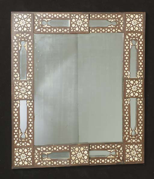 A PERSIAN STYLE BONE INLAID WALL MIRROR,