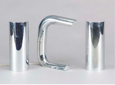 A PAIR OF CONTEMPORARY CHROME