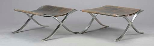 A PAIR OF 'BARCELONA' STEEL AN