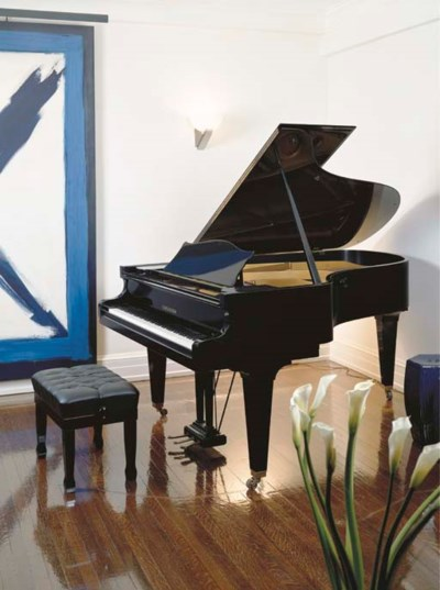 A BECHSTEIN BLACK LACQUERED GR