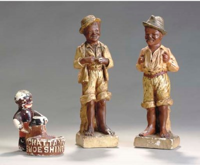 A PAIR OF POLYCHROME PAINTED F
