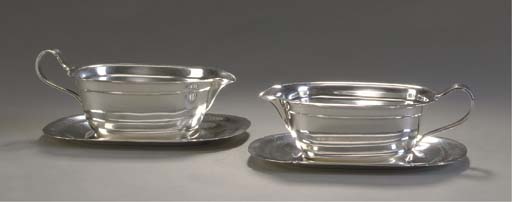 TWO AMERICAN SILVER SAUCE BOAT