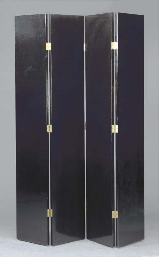 A BLACK LACQUERED FOUR PANEL S