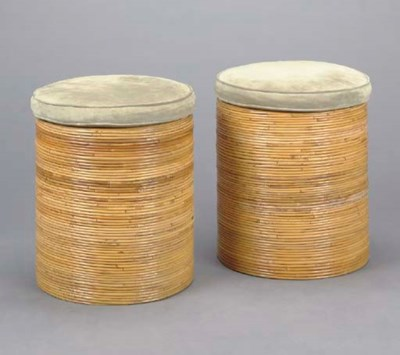 A SET OF FOUR CIRCULAR BAMBOO