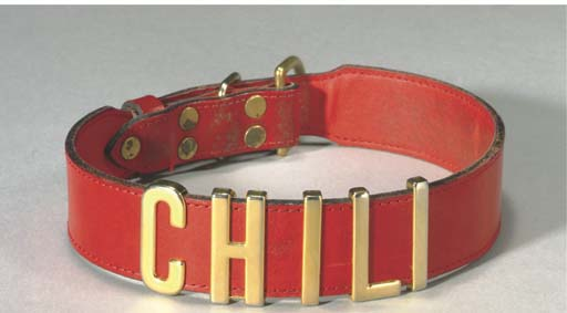 A RED LEATHER DOG COLLAR WITH