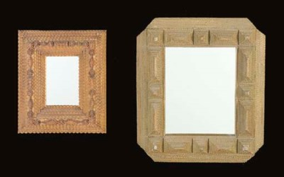 TWO CARVED 'TRAMP' MIRRORS AND