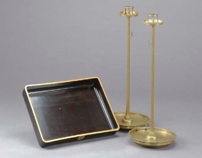 A PAIR OF BRASS PRICKET CANDLE