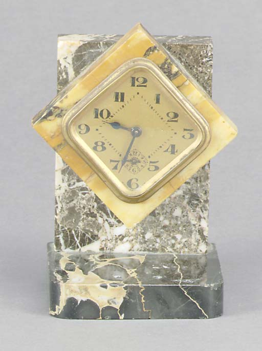 A FRENCH ART DECO MARBLE ALARM