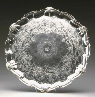 A GEORGE II SILVER FOOTED SALV