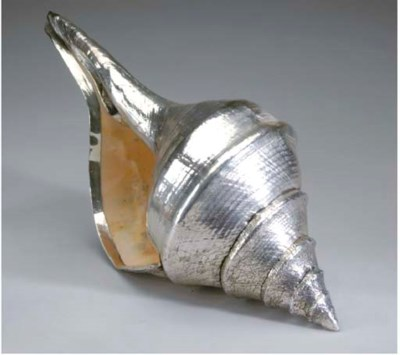 A LARGE SILVER-COATED CONCH SH