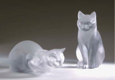 TWO LALIQUE FROSTED GLASS FIGU