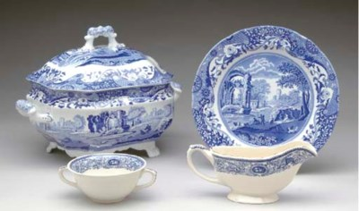 A SPODE PORCELAIN BLUE AND WHI