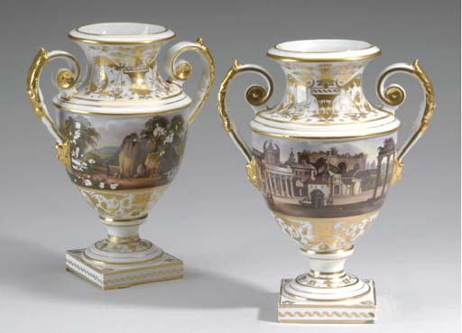 A PAIR OF DERBY PORCELAIN TWO-HANDLED SCENIC VASES,