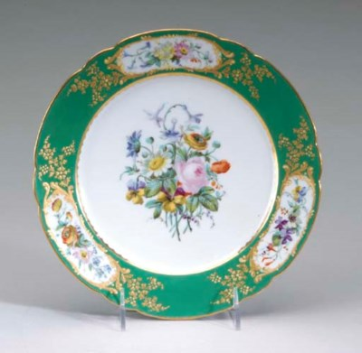 FIVE SEVRES STYLE GREEN-GROUND