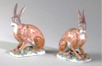 A PAIR OF MEISSEN MODELS OF HA