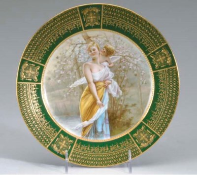 A VIENNA STYLE GILT AND GREEN-
