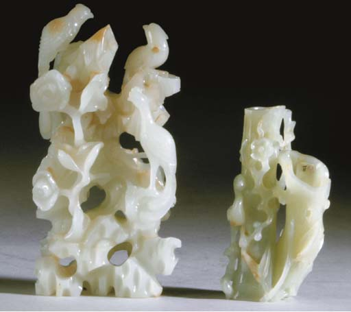 TWO CHINESE PALE GREENISH-WHITE JADE CARVINGS,