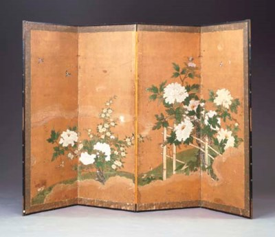 A JAPANESE FOUR-PANEL SCREEN O